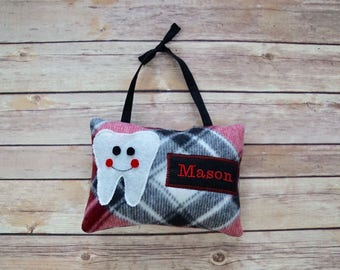 Tooth Fairy Pillow - Red/Black Plaid