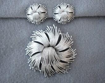 Monet Cordelia Jewelry Set Brooch and Earrings Vintage
