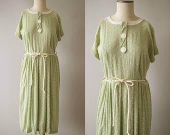 vintage 1950s dress / 50s sage linen dress / medium / Teeny Leaves Dress