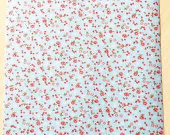Fabric adhesive pattern: floral blue 210 x 290 mm (A4)