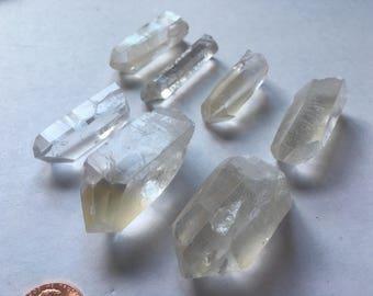 """Golden Quartz 7 pc Lot Crystals Brazil Healing 1-1.5"""" 17rf1117F"""