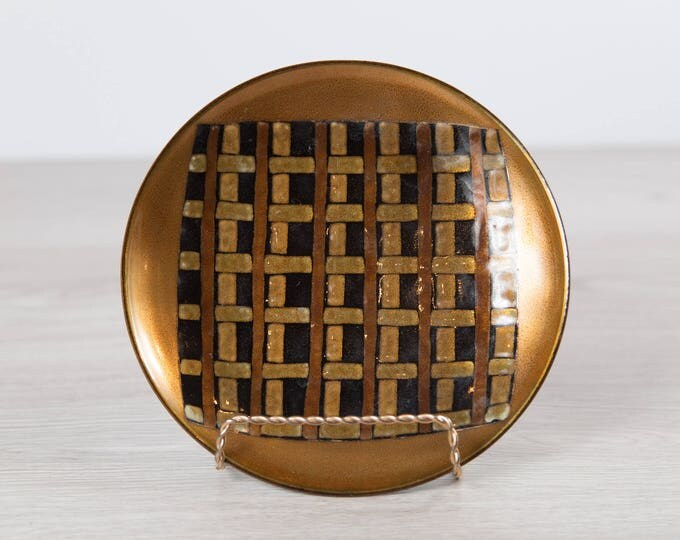Enamel Plate Art - Signed by Canadian Artist Patricia Fisher, 1960 - Decorative Mid Century Modern Artist Plate / Rustic Brown Woven Design