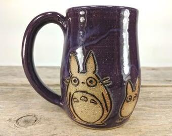 Studio Ghibli Little Totoros Mug - 16 oz Purple Wheel Thrown Hand Carved Studio Ghibli Coffee Cup