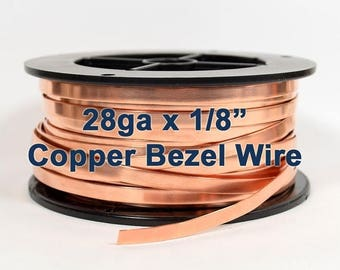 "10% Off 28ga x 1/8"" Copper Bezel Wire - Choose Your Length"