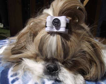 """OREO cookie Dog Bow 7/8"""" OR 5/8"""""""