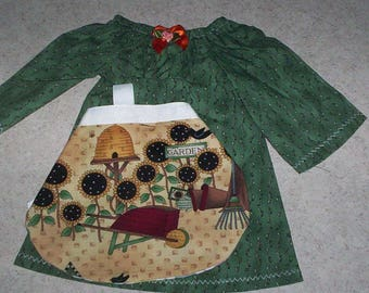 "A.G. 18"" DOLL Dress .. A'Line, Cotton Dress with Apron ** Fits all 18"" dolls!"