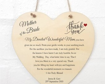 Personalised Mother of the Bride / Mother of the Groom Wedding Poem Thank You Heart Sign Plaque.
