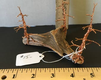 Copper  wire 'Bonsai' Tree mounted on driftwood