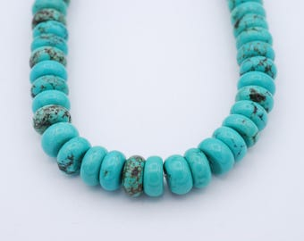 Stabilized turquoise rondells 14mm  width and  8mm thicness  15.75""