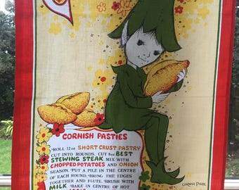 Vintage Cornish Souvenir Tea Towel - Pixie Tea Towel/Traditional Cornish Pastie Recipe