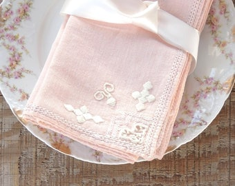 """Vintage Pink and Cream Embroidered Dinner Napkins Set of 6 Table Linens 16"""" Square Napkins"""