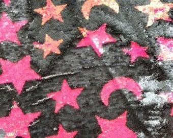 New!! 1 yard Stars&Moon Flip Sequin Fabric,Reversible Sequin Fabric,Sequins on Mesh Fabric,Two-Tone Flip up Same color Mermaid Sequin Fabric