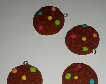 X 1 Cookie nugget multi color polymer clay