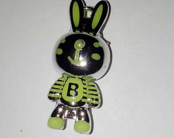 Rabbit 3D silver and neon yellow 1 X letter B 35 mm