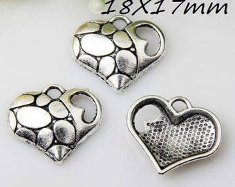 X 2 Tibetan silver broken heart