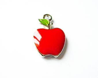 X 1 red enamel Apple 11X17mm