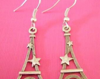 Silver Eiffel Tower earrings