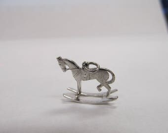 Vintage sterling Silver Rocking Horse Charm W #285