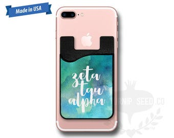 Zeta Tau Alpha Watercolor - Water Color - Phone Caddy - Sticker Pocket Wallet - Personalized Cell Phone Pocket PC 1202