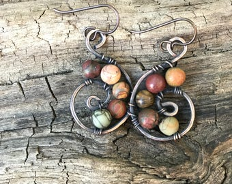 Hammered Copper Swirl Picture Jasper Earrings