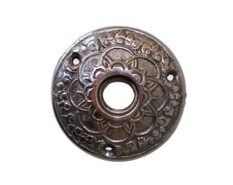 Aged Bronze Brass Rosette Round Door Plate with Floral Accent