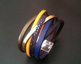 The Royal Blue, leather multi-links magnetic lock Bracelet
