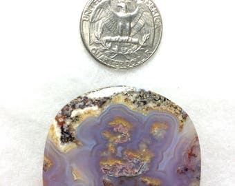 Stunning Verde River Agate collector cabochon - 42mmx38mmx5mm  lilac to lavender color from Arizona