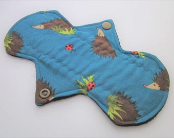 "Cloth Menstrual Pad 8"" regular absorbency - Hedgehog print 100% cotton top"