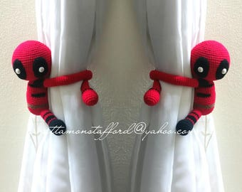 A pair of deadpool curtain tie back,  Handmade deadpool crochet,  Nursery tie backs.  MADE TO ORDER***
