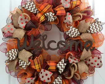 Welcome Fall Mesh Wreath - Mesh Thanksgiving Wreath - Thanksgiving Door Wreath - Fall Front Door Wreath - Welcome Fall Wreath