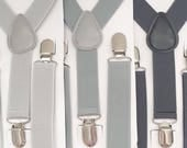 FREE DOMESTIC SHIPPING! Light gray, medium gray, dark gray Y-Back suspenders fit 6 months to adult