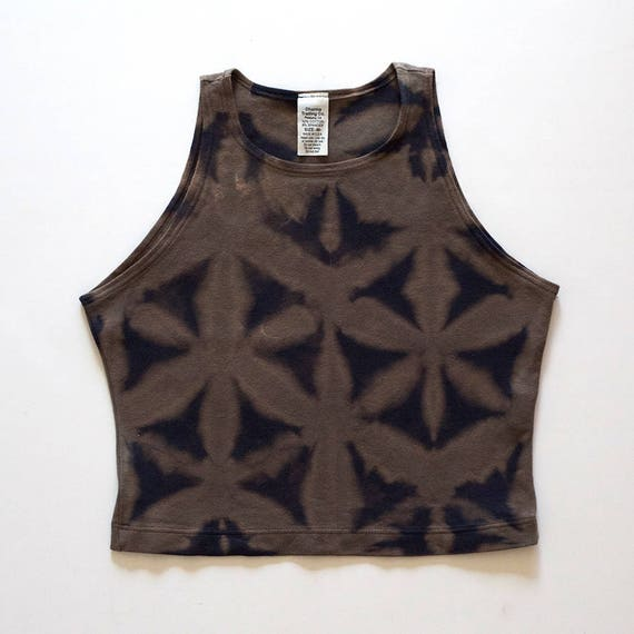 M Tan & Black Itajime High Neck Crop Top