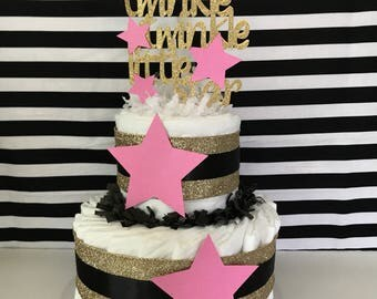 2 Tier Twinkle Twinkle Little Star Diaper Cake, Twinkle Twinkle Little Star Baby Shower Centerpiece in Gold, Pink and Black