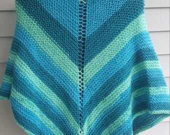 shawl, knit shawl, multicolor shawl (frosty swirl)