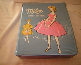 vtge Midge case-barbie's best friend-doll case-storage-organization-toys storage-1960's case-collection-
