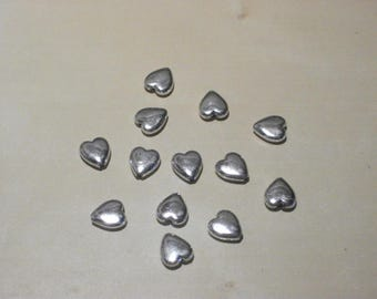 Set of 13 beads hearts silver