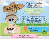 Fishing Baby, Lake Fishing, Pond Fishing Boy:Design #086-Children's Birthday Invitation, Personalized, Digital, Printable, 4x6 or 5x7 JPG