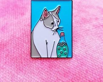 Cute cat painting enamel pin badge