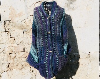 Turquoise and purple chunky sweater
