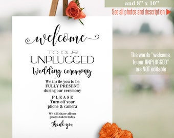 Unplugged ceremony sign, printable wedding template, unplugged sign, instant download Self Editable PDF A511