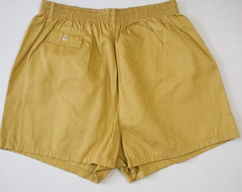 Vintage 1960s Gold Cotton Mens Surf Swim Trunks / Vintage 60s Mens Swimwear / Large