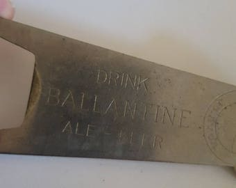 """Vintage P. Ballantine Beer bottle opener, 1940's to 1950's """"Drink Ballantine Ale-Beer"""" features the Three Rings of Purity Body and Flavor"""