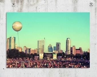 ACL Balloon - Music, Festival, Cityscape, Photography - Zilker Park - Austin, TX - Fine Art Print - Canvas Galley Wrap - Metal Print