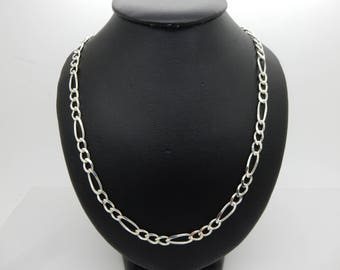 """Solid Vintage Sterling Silver/925 5.5mm Figaro Chain Necklace-24""""-Italy (18.3gr); sku # 4519"""