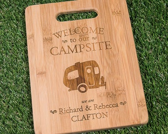 Personalized Pop Up Camper Cutting Board 11.5 x 8.75 - Welcome to our Campsite Bamboo Custom Engraved Cutting Board - Pop-Up Camping