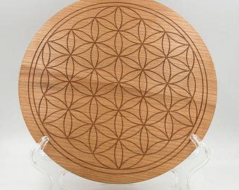 """Flower of Life 8.5"""" Crystal Grid Board - Sacred Geometry Cherry Crystal Healing Grid - Overlapping Circles Engraved Geometrical Grid Board"""