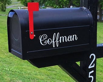 Mailbox name in vinyl.  Mailbox decal. Mailbox label.