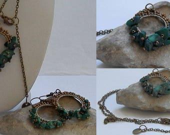 Pendant bronze seed beads weaving and malachite
