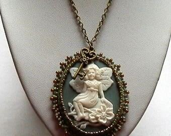 fairy cameo pendant green and bronze