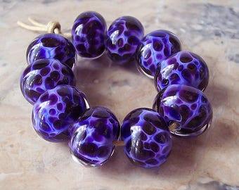 Handmade Lampwork Glass Beads (5 pcs) - Periwinkle Blue, Dark Violet. Lampwork Rondelle Bead Set. Organic Lampwork Beads.